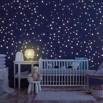 Homery Sternenhimmel 300 Leuchtsterne selbstklebend mit starker  Leuchtkraft, fluoreszierende Leuchtsterne Wandtattoo & Wanddeko Aufkleber  für Baby, ...