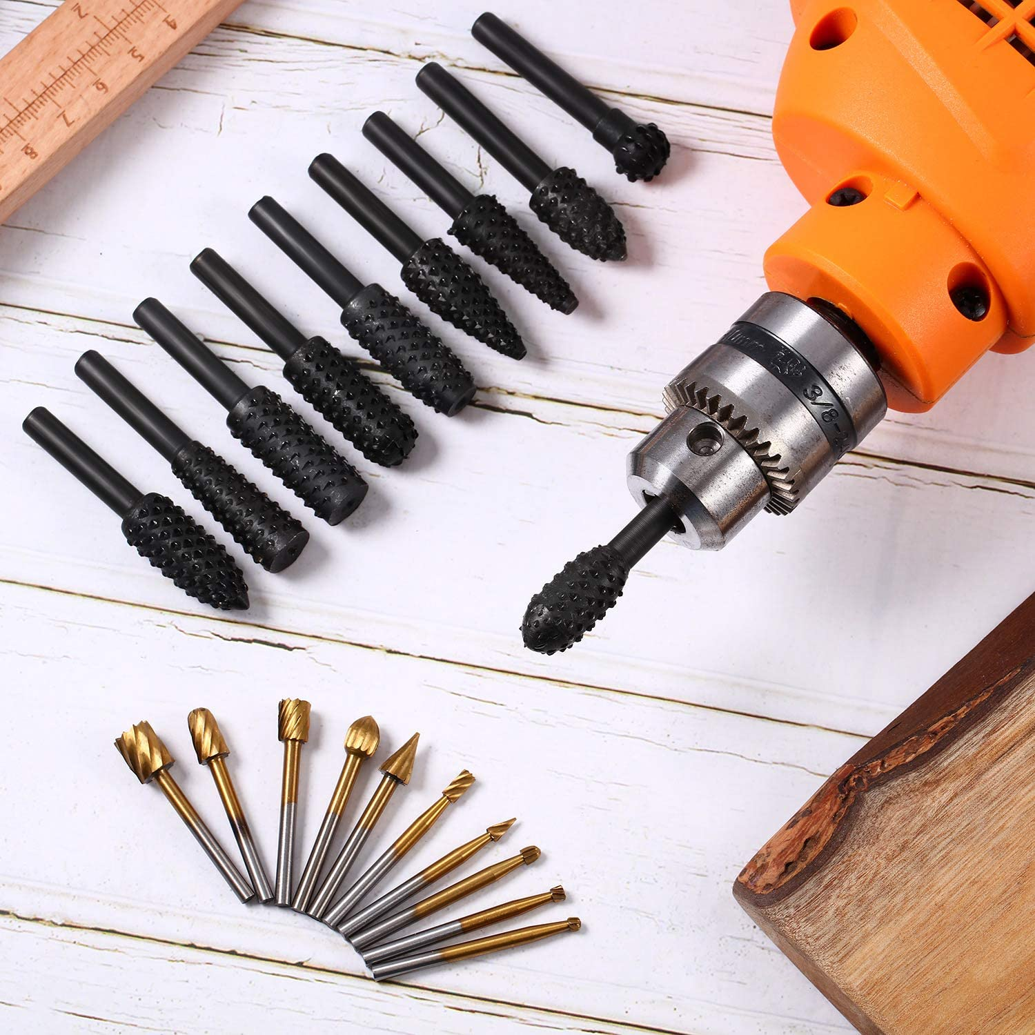 10 Pieces Woodworking Drill Bits High Speed Rasp Drill Bit with 1//8 Inch Shank and 10 Pieces Carving Drill Bits with 1//4 Inch Shank for DIY Woodworking Carving Drilling Black and Gold