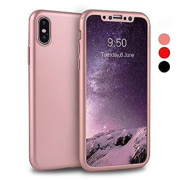 Funda iPhone X ORETech Carcasa iPhone X Case 360 Grados con [2-Pack Transparent Protector de Pantalla de Vidrio Templado][Ultra-Delgado] [Ligera] ...
