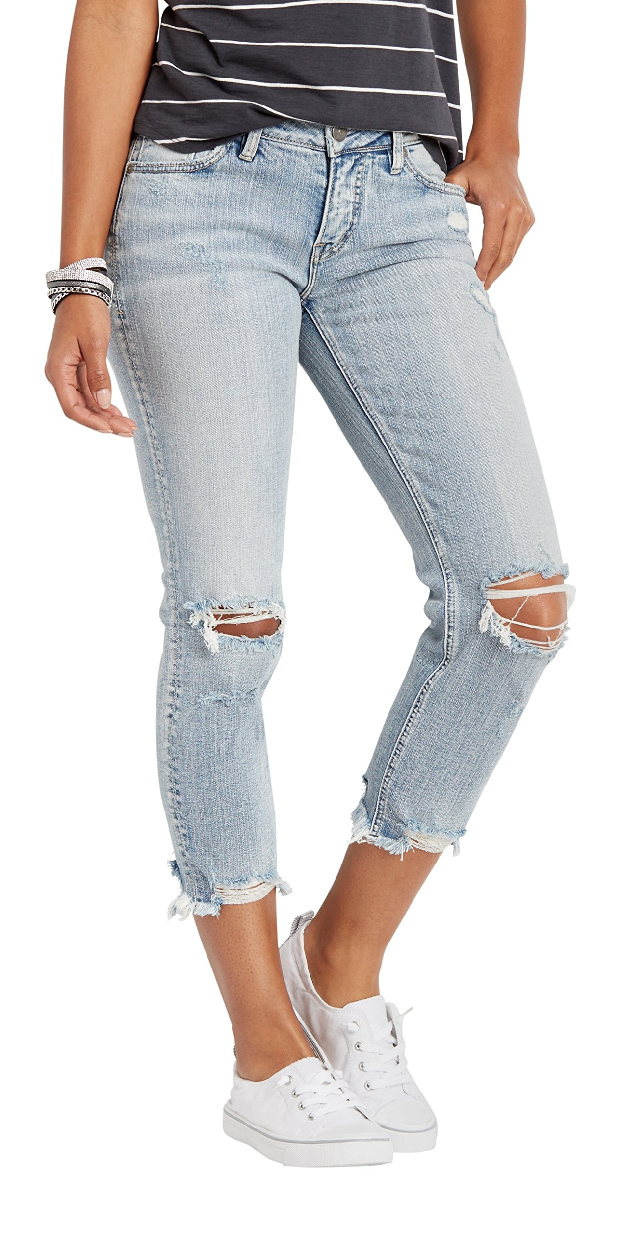 Silver Jeans Co. Women's Aiko Fit Mid-Rise Slim Crop Jeans, Light Destroyed Wash, 27x25 by Silver Jeans Co. (Image #3)