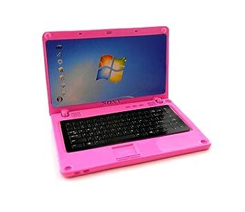 Amazon.es: Accesorio Miniatura Casa De Muñecas Rosa Metal Niñas Lap Camiseta Ordenador Portátil: Juguetes y juegos