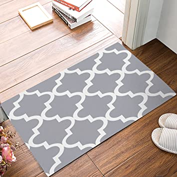 Amazon.com : Indoor Doormat Stylish Welcome Mat Grey Quatrefoil ...