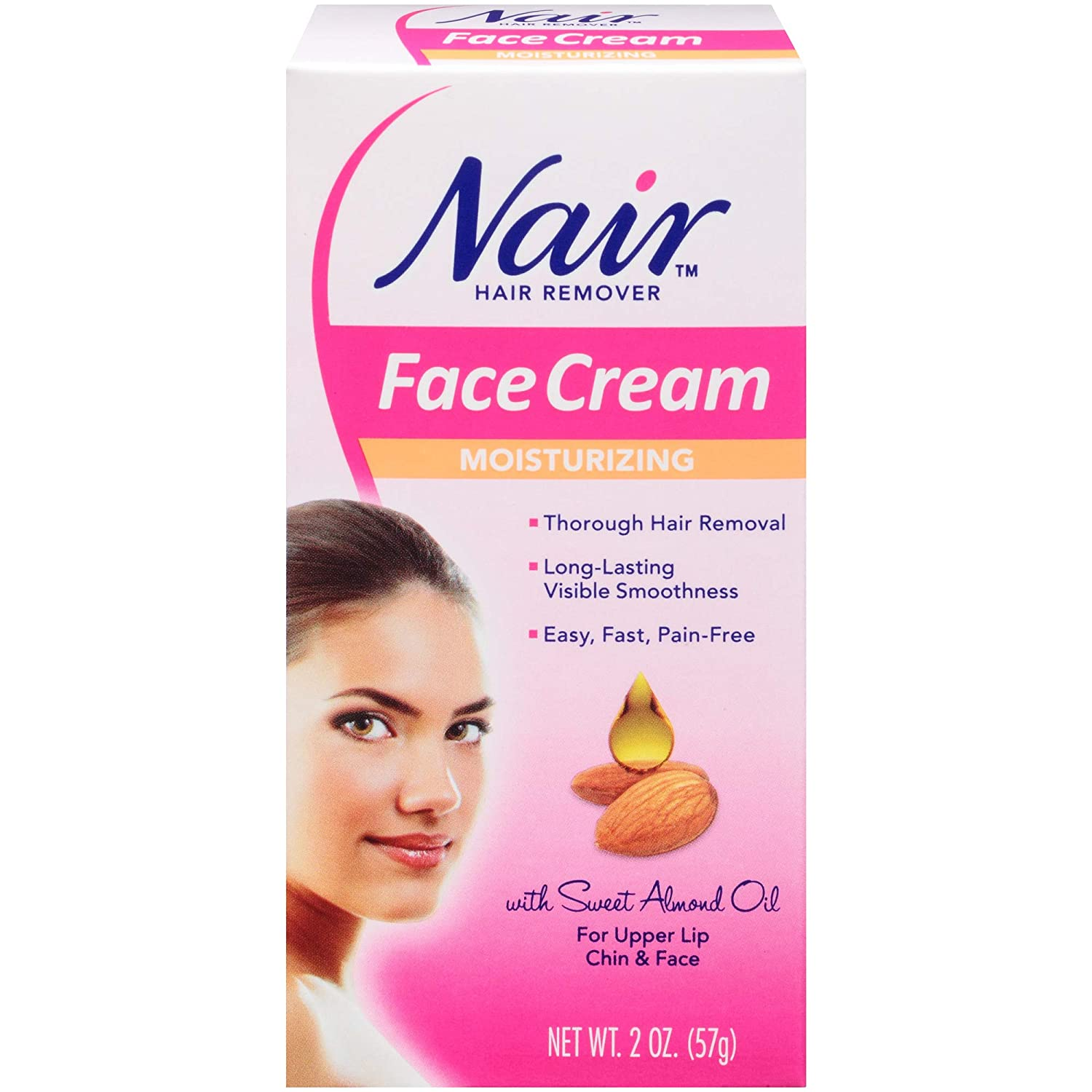 Amazon Com Nair Hair Remover Moisturizing Face Cream With Sweet Almond Oil 2oz Facial Care Products Beauty