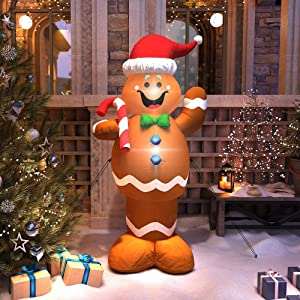 MAJALiS Christmas Inflatables Decorations 5 Foot Blow Up Cute Lights Hanging Lawn Yard Holiday Outdoor Gingerbread Christmas Decoration Airblown Life Size Animated Waving Men Gingerbread Man