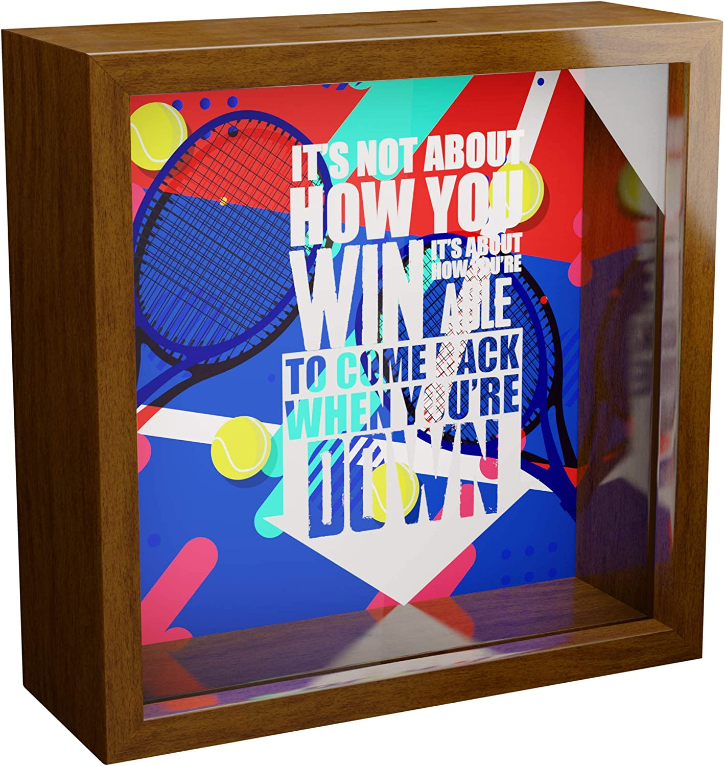 Tennis Wall Decor Gifts   6x6x2 Memorabilia Shadow Box with Glass Front   Wooden Memory Box Ideal for Tennis Lovers   Themed Keepsake for Players or Coach for Men and Women