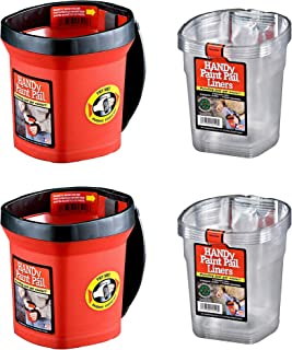 product image for Bercom HANDy Plastic 1 Quart Red Paint Pails (2 Pack) with Disposable Liners (12 Pack)