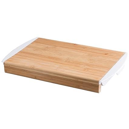 Levivo Tabla de Cocina de Bambú con Bandejas Extraíbles, Tabla de Cortar para Picar,
