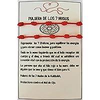 SabelAX Pulsera 7 Nudos Roja - Hilo Rojo - Protección Mal de Ojo y Buena Suerte - Unisex, para Mujer y Hombre - Kabbalah…