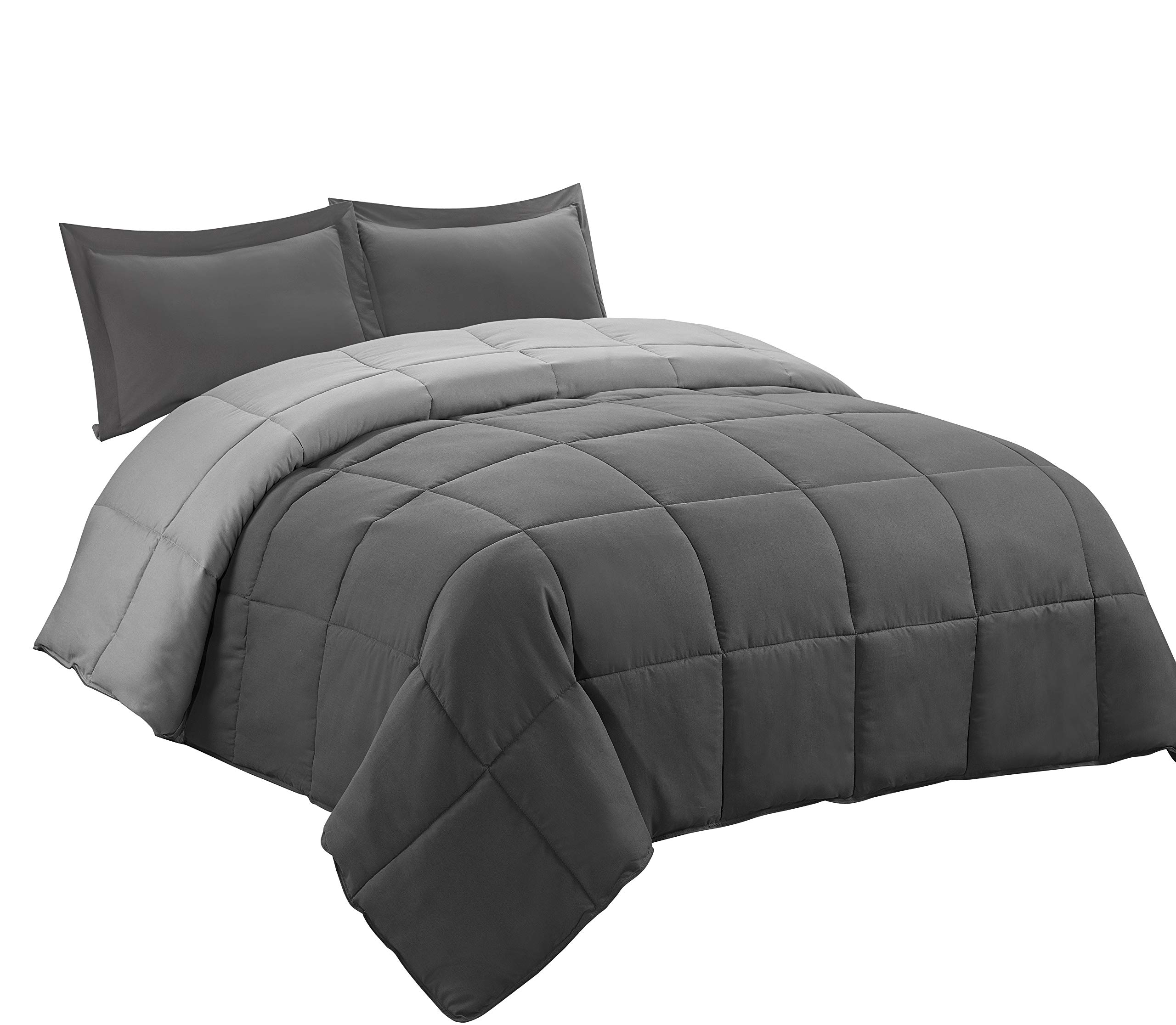 3pc Down Alternative Comforter Set -All Season Reversible Comforter with Two Shams - Quilted Duvet Insert with Corner Tabs -Box Stitched –Hypoallergenic, Soft, Fluffy (Full/Queen, Dark Gray/LightGray)