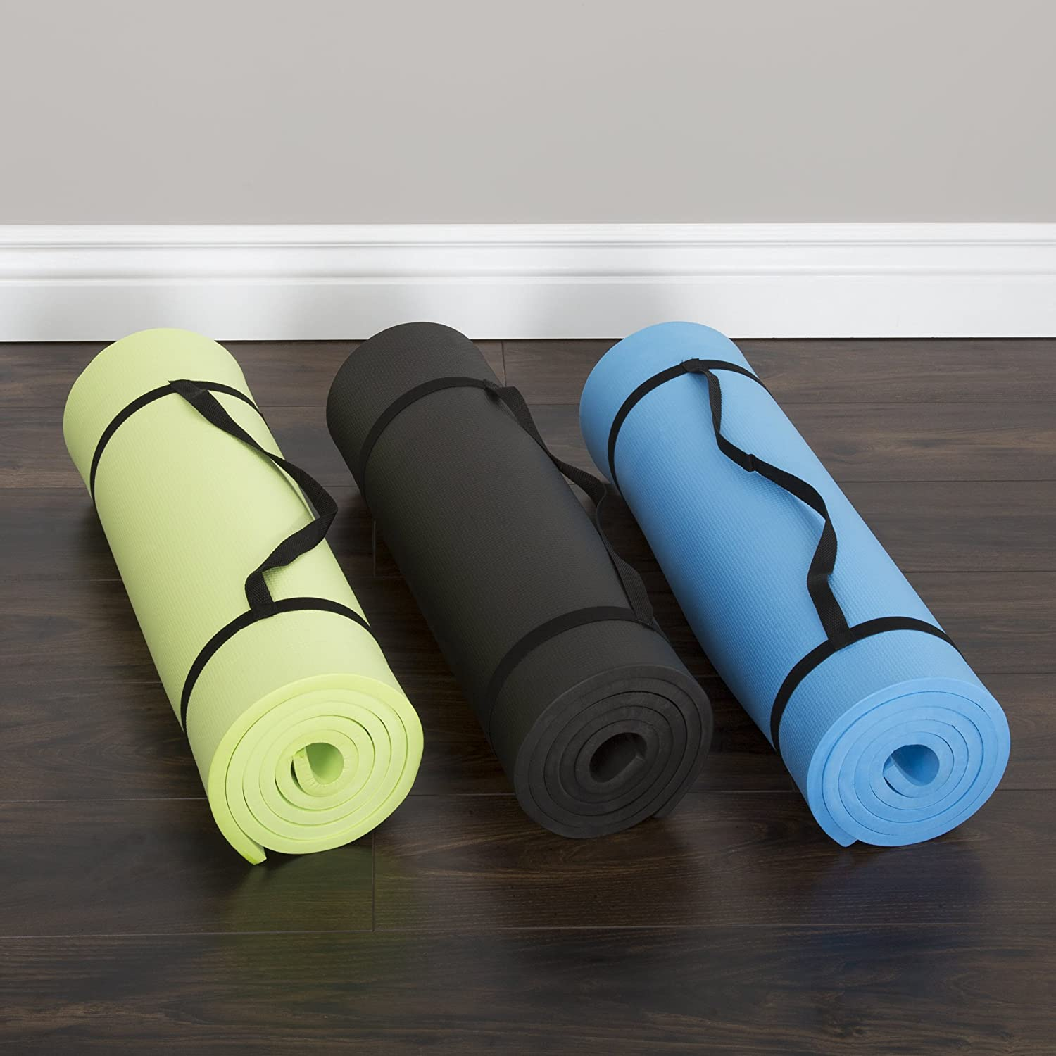 Extra Thick Yoga Mat- Non Slip Comfort Foam, Durable Exercise Mat For Fitness, Pilates and Workout With Carrying Strap By Wakeman Fitness (Black): Sports & Outdoors