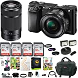 Sony Alpha a6000 Mirrorless Camera w/ 16-50mm & 55-210mm Lens & Four 32GB SD Cards