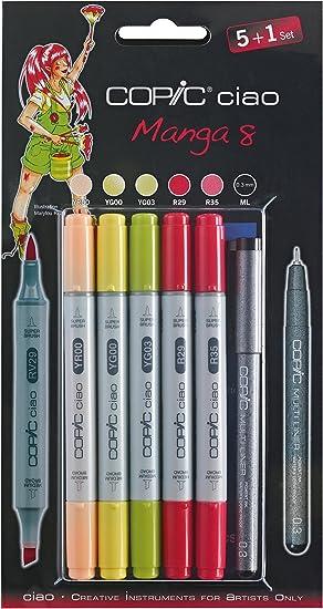 COPIC Ciao Manga 8 - Juego de rotuladores (6 Unidades), Color Negro: Amazon.es: Hogar