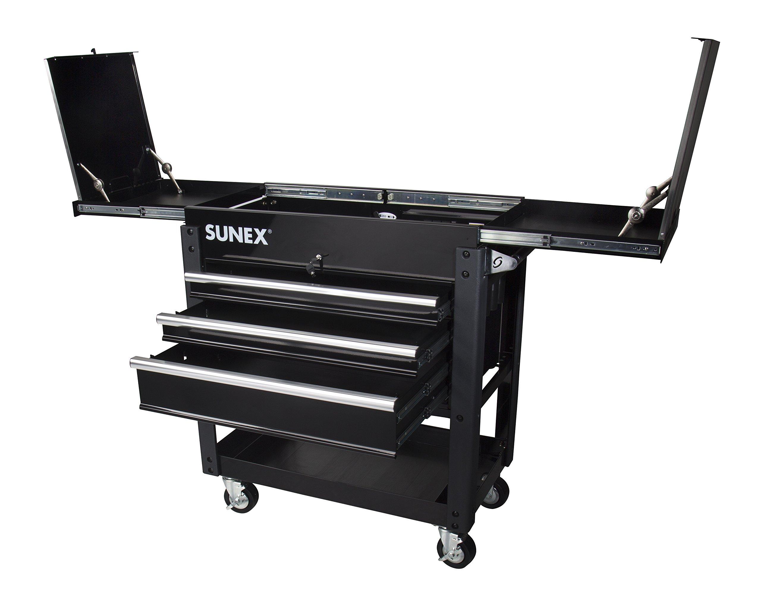 Sunex 8035XTBK 3 Drawer Service Cart with Sliding Top- Black
