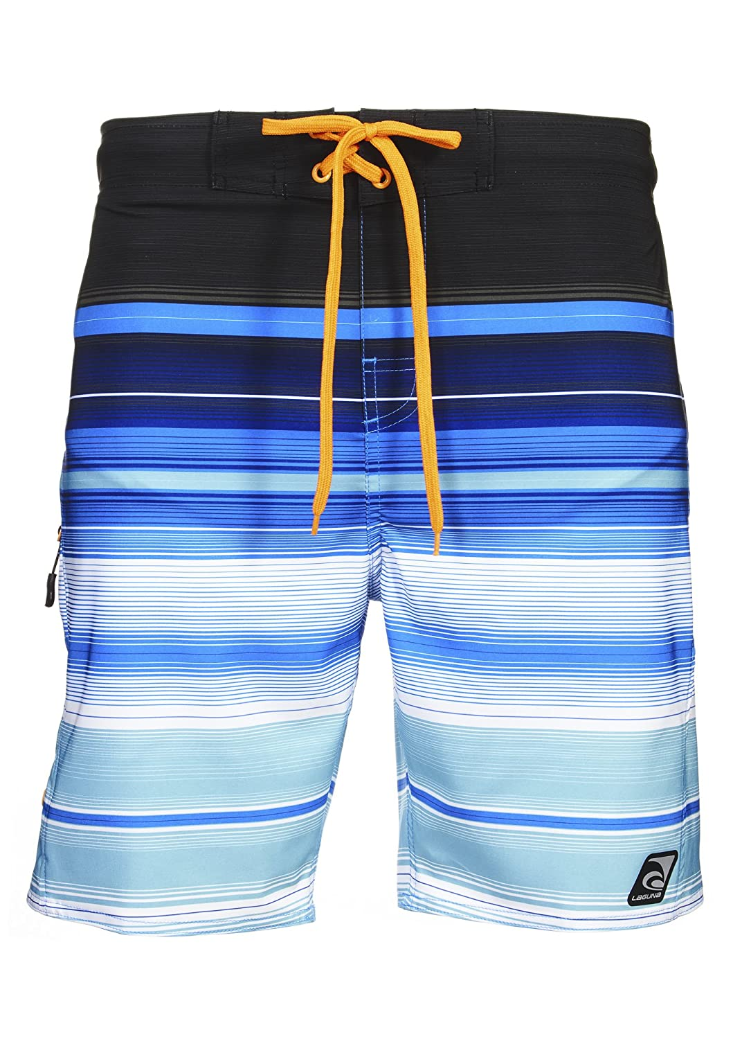 7e09325cba PALM TREE PRINT board shorts with the comfort of classic pull-on swim trunks  - Features blue and pattern with palm tree designs. ABOVE-KNEE CUT 8