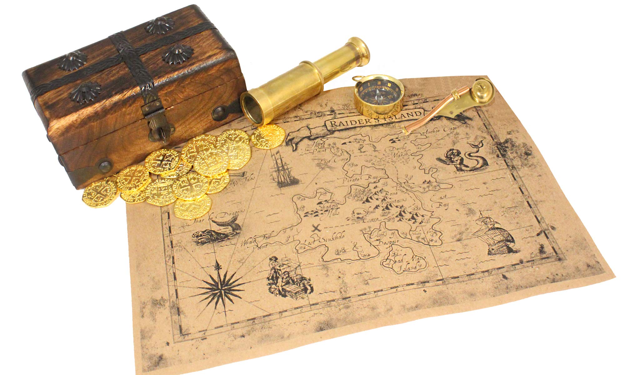 Pirate Treasure Chest Solid Wood With Telescope Spyglass Brass Functional Compass, Bosun Whistle, Metal Coins, Treasure Map Hunt By Well Pack Box,