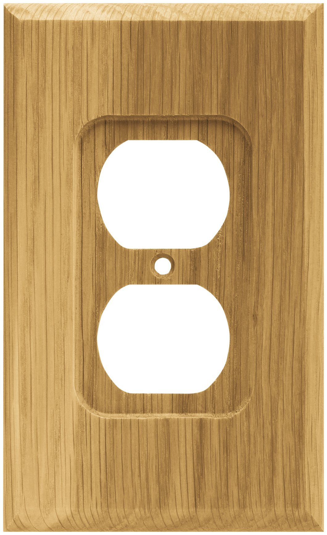Brainerd 64665 Wood Square Single Duplex Outlet Wall Plate / Switch Plate / Cover, Medium Oak by Brainerd (Image #1)