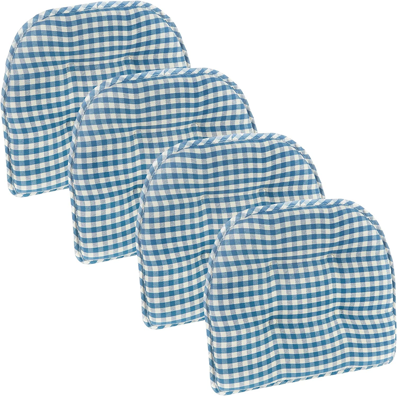 Klear Vu Gingham Tufted No Slip Dining Chair Pad Cushion, Set of 4, Blue