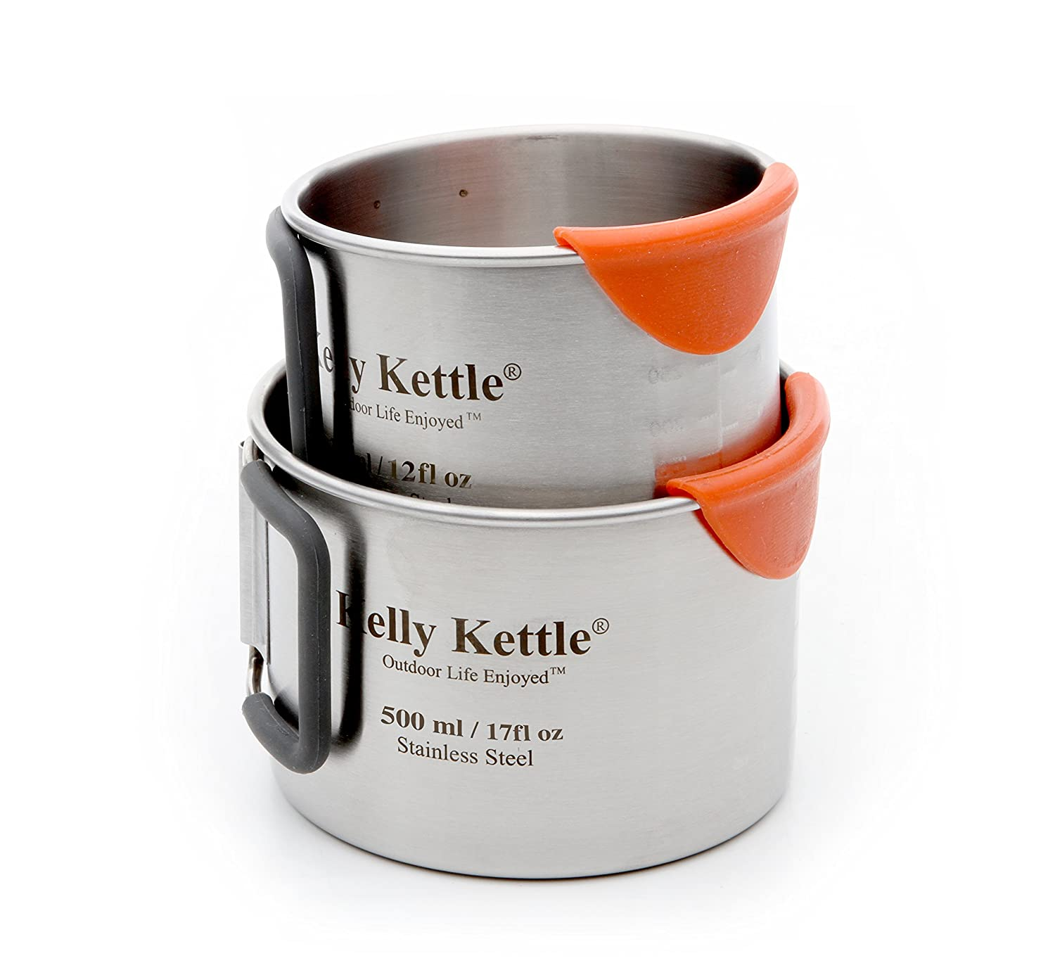 Camping Cup set (350 & 500ml) 2 x High quality single walled stainless steel Camping Cups. Features Include: Silicone coated foldable handles for comfort / CooLip™ feature to protect lips from burning / measurements on inside of cup / Polished interna