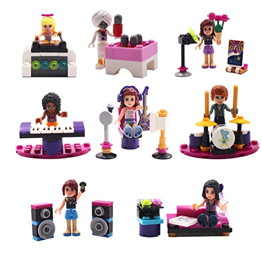 Girl Toys Minifigures,8Pcs Music Building Block Minifigures Set Christmas Gifts For Children