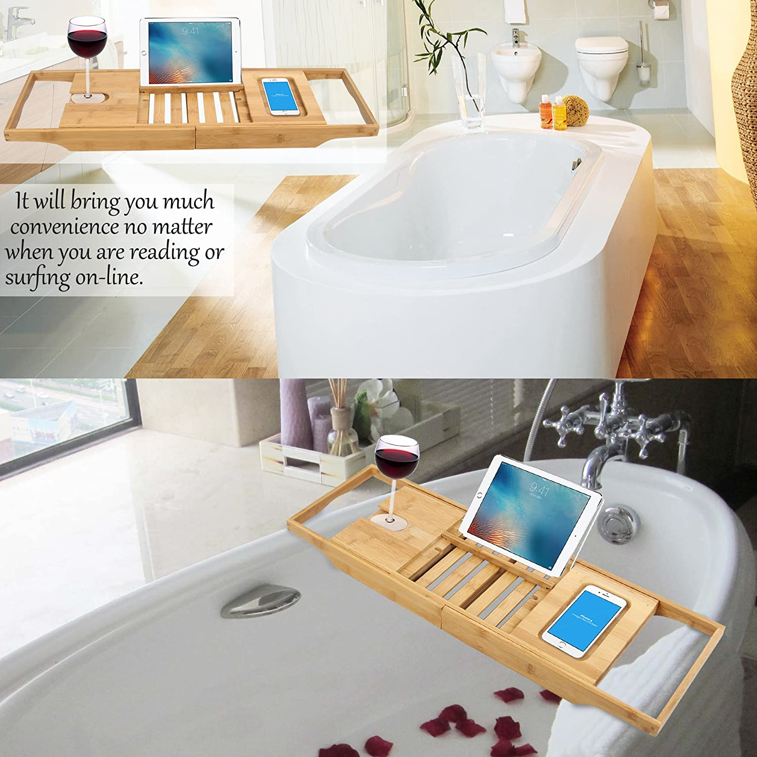 Bamboo Expandable Bathtub Caddy with Cellphone Tray and Wineglass ...