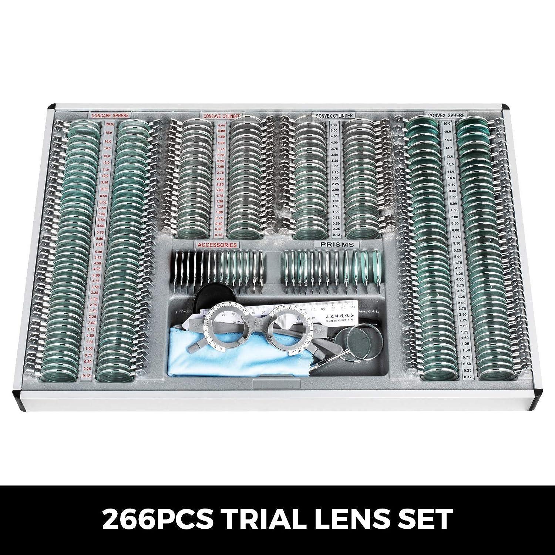 VEVOR 104pcs Optical Trial Lens Metal Optical Trial Lens Set Optometry Lens Optometry Box Trial Lens Equipment Eye Protection Accessories with Aluminum Storage Case(104pcs)