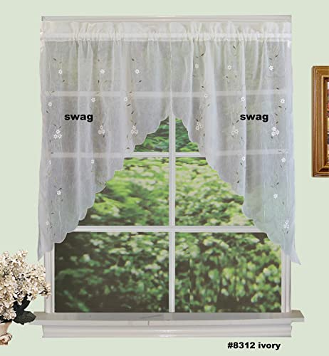 Creative Linens Daisy Embroidery Kitchen Curtain 38 L SWAGS Ivory