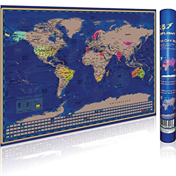 Amazon scratch off world map poster premium print gift for scratch off world map poster premium print gift for adventure travelers us states gumiabroncs Images