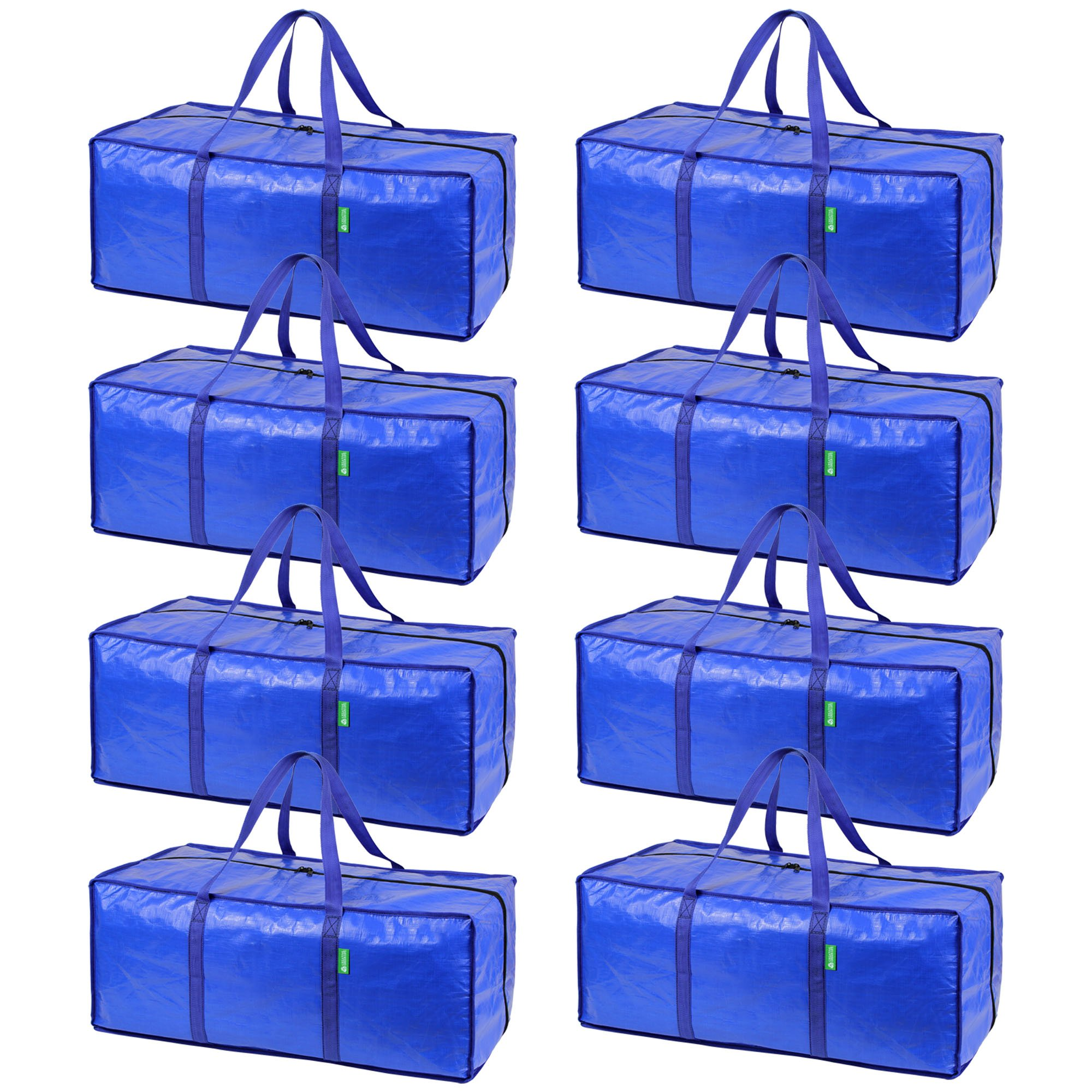 Storage and Moving Bag Set with Zipper Closure (8 Pack). Extra-large, Heavy Duty, Thick Oversized Wardrobe Totes. Bins for Clothing, Comforters, Blankets, Dorm Room Essentials, Decorations, Supplies by Creative Green Life (Image #6)