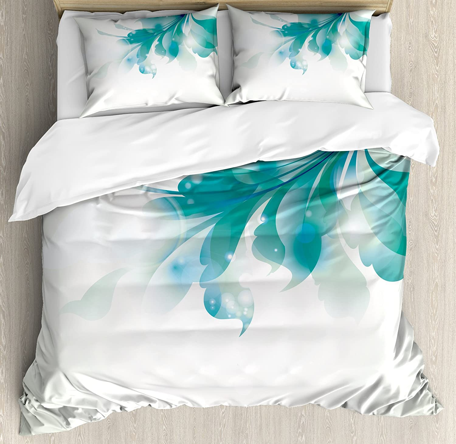 A Decorative 3 Piece Bedding Set with Pillow Shams Watercolor Tropical Island Style Border Print Exotic Fruit Palm Trees and Leaves Theme Multicolor nev/_16780/_queen Ambesonne Pineapple Duvet Cover Set Queen//Full