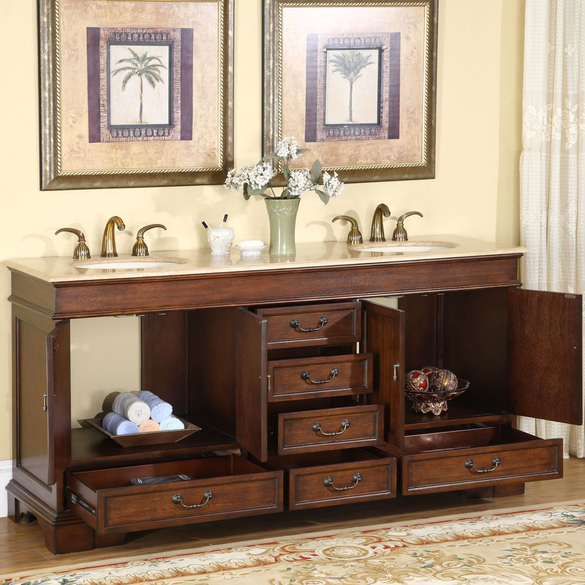 Amazon.com: Silkroad Exclusive Travertine Stone Top Double Sink Bathroom  Vanity With Cabinet, 72 Inch: Home U0026 Kitchen
