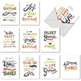 Thank You Appreciation Greeting Cards (10 Pack) - Assorted Blank Words of Appreciation Thankful Note Card Set - Colorful Gratitude & Thanks Notecard With Envelopes (4'' x 5 ¼'') #M10019BK