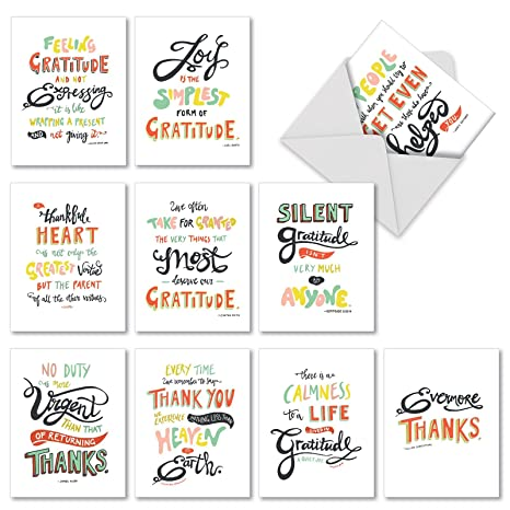 10 Gratitude and Thank You Cards with Envelopes 4 x 5.12 inch - Words Of  Appreciation Greeting Cards for Wedding, Baby Shower, Thanksgiving - Boxed  ...