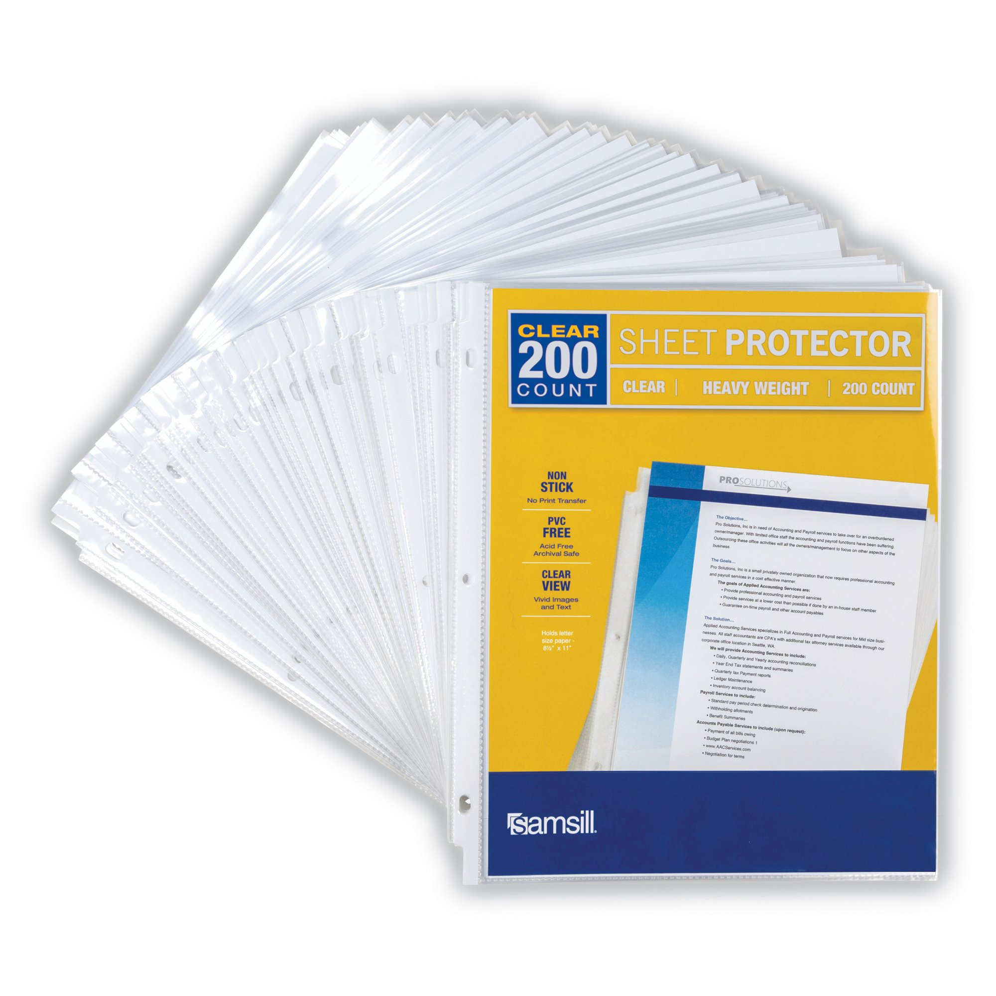 Samsill Heavyweight Clear Sheet Protectors, Box of 200 Plastic Page Protectors, Acid Free/Archival Safe, Top Load 8.5 x 11 inches by Samsill (Image #2)