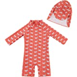 upandfast Baby Girl One Piece Swimwear Suits with Sun Hat Infant Swimsuits UPF 50+ Sun Protection