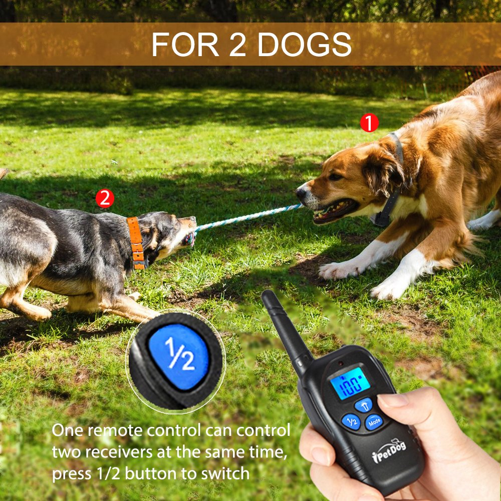 Fettish Dog Training Collar Rechargeable & Waterproof Electric Remote Dog Shock Collar with LED Light Beep Vibration Safety Shock Modes for Small/Medium/Large Training Collars by Fettish (Image #3)