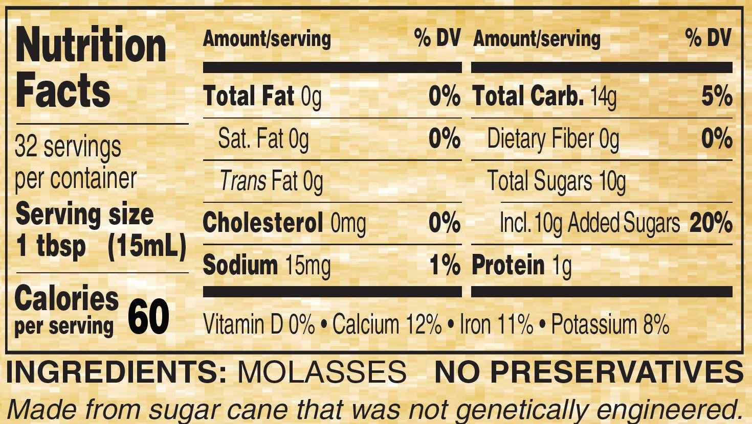 Golden Barrel Blackstrap Molasses (12/16 fl. oz. Wide Mouth Case)