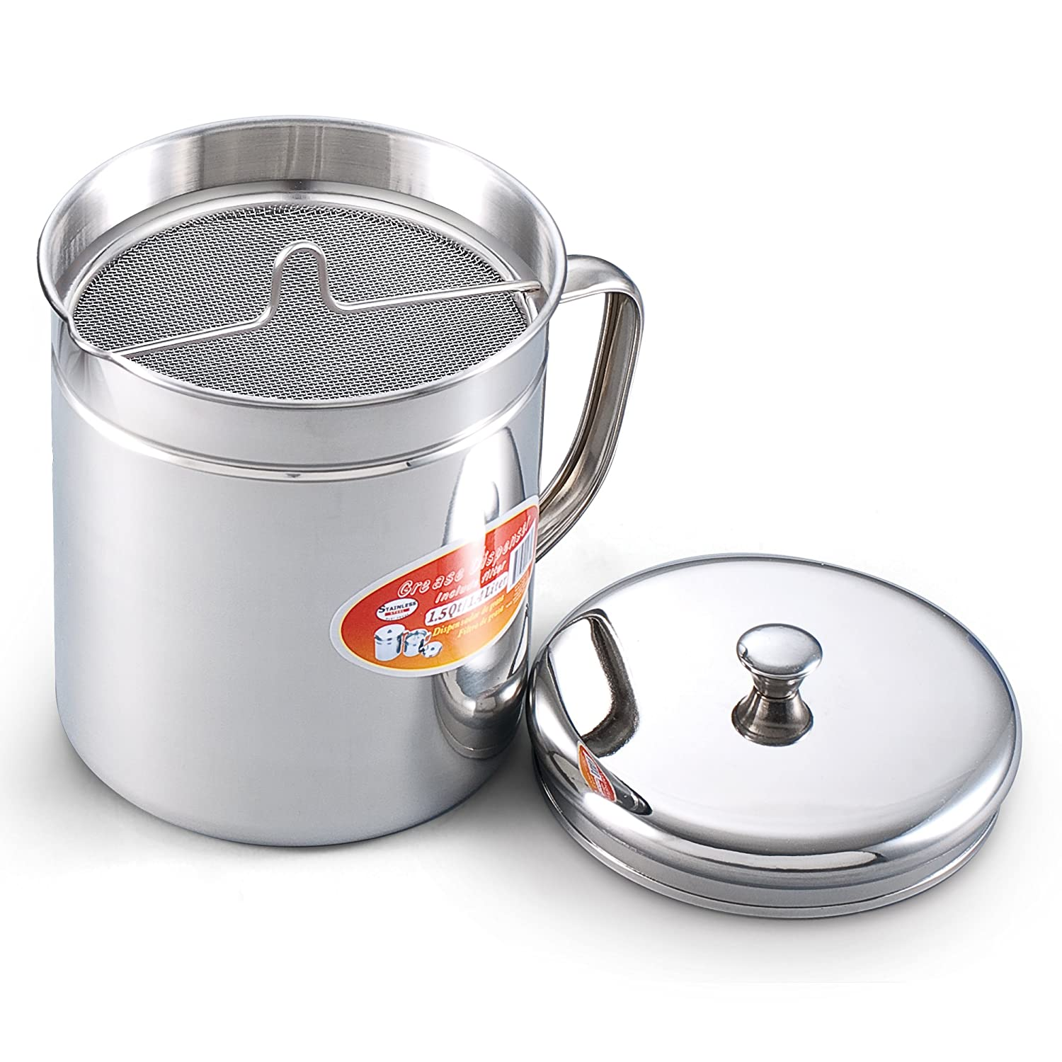 Cook N Home 1.5 Quart Stainless Steel Oil Storage Can Strainer, 6 Cup