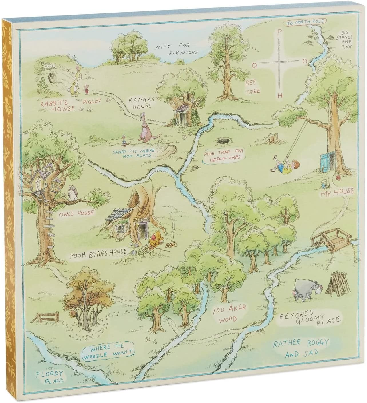 100 Acre Wood Map C Hundred Aker Classic Winnie The Pooh CANVAS