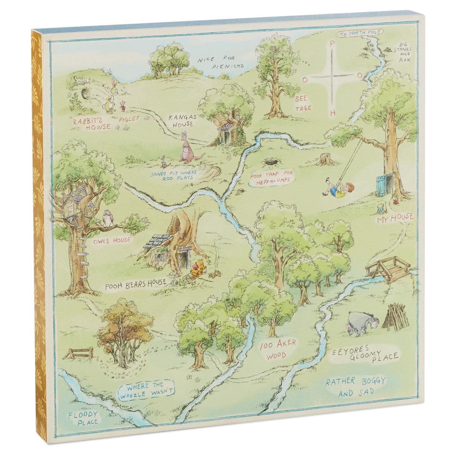 Amazon.com: Hallmark Hundred Acre Wood Map Art Birthday: Home & Kitchen