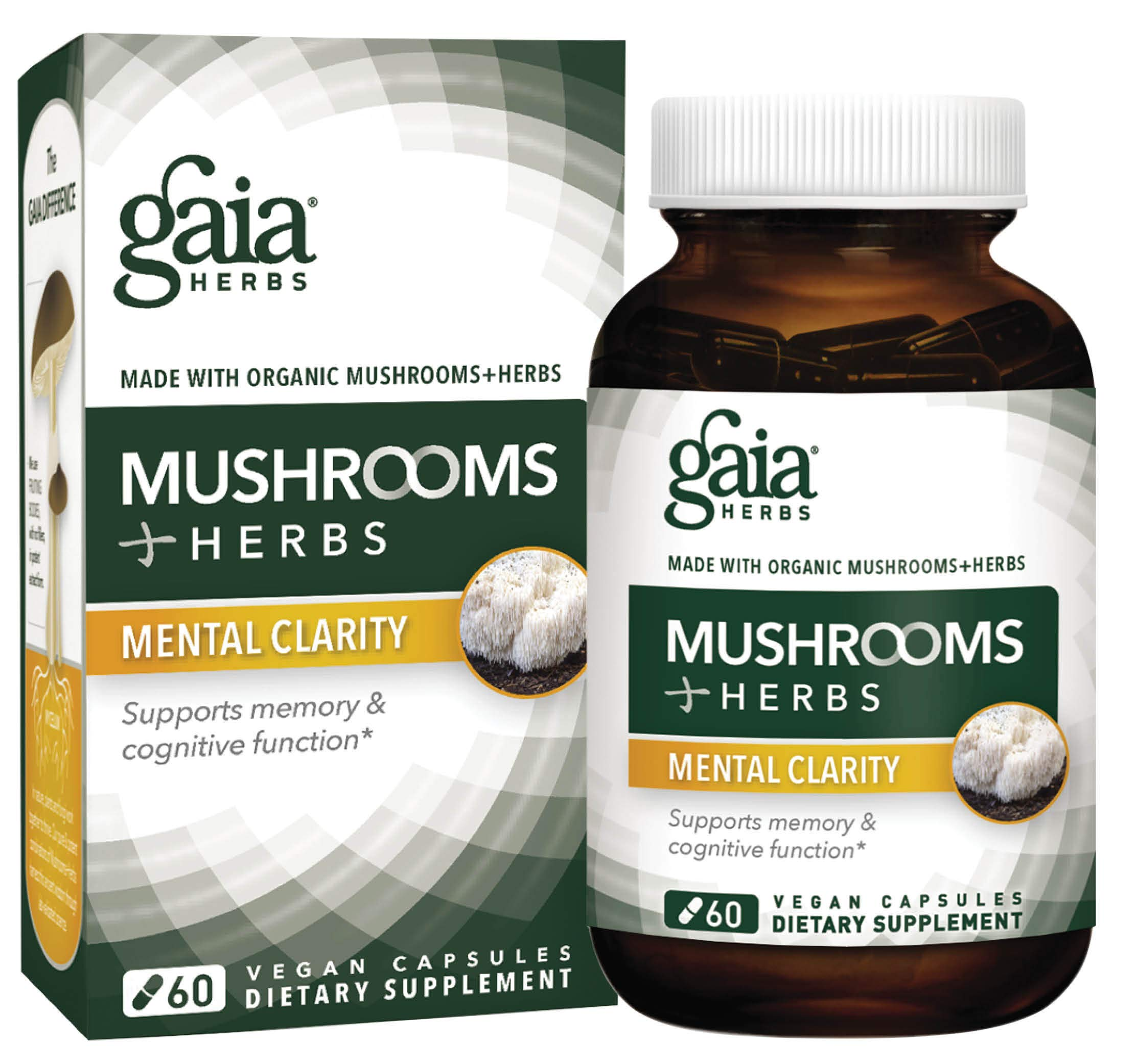 Gaia Herbs Mushrooms + Herbs Mental Clarity Capsules, 60 Count