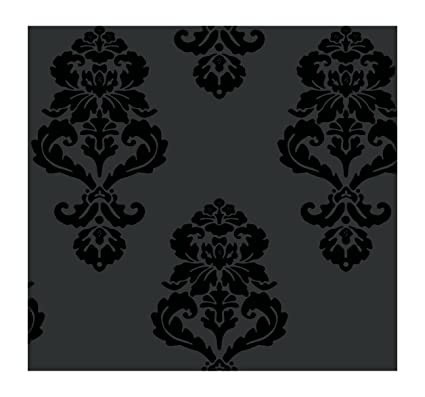 York Wallcoverings Tres Chic Graphic Damask Removable Wallpaper Blacks