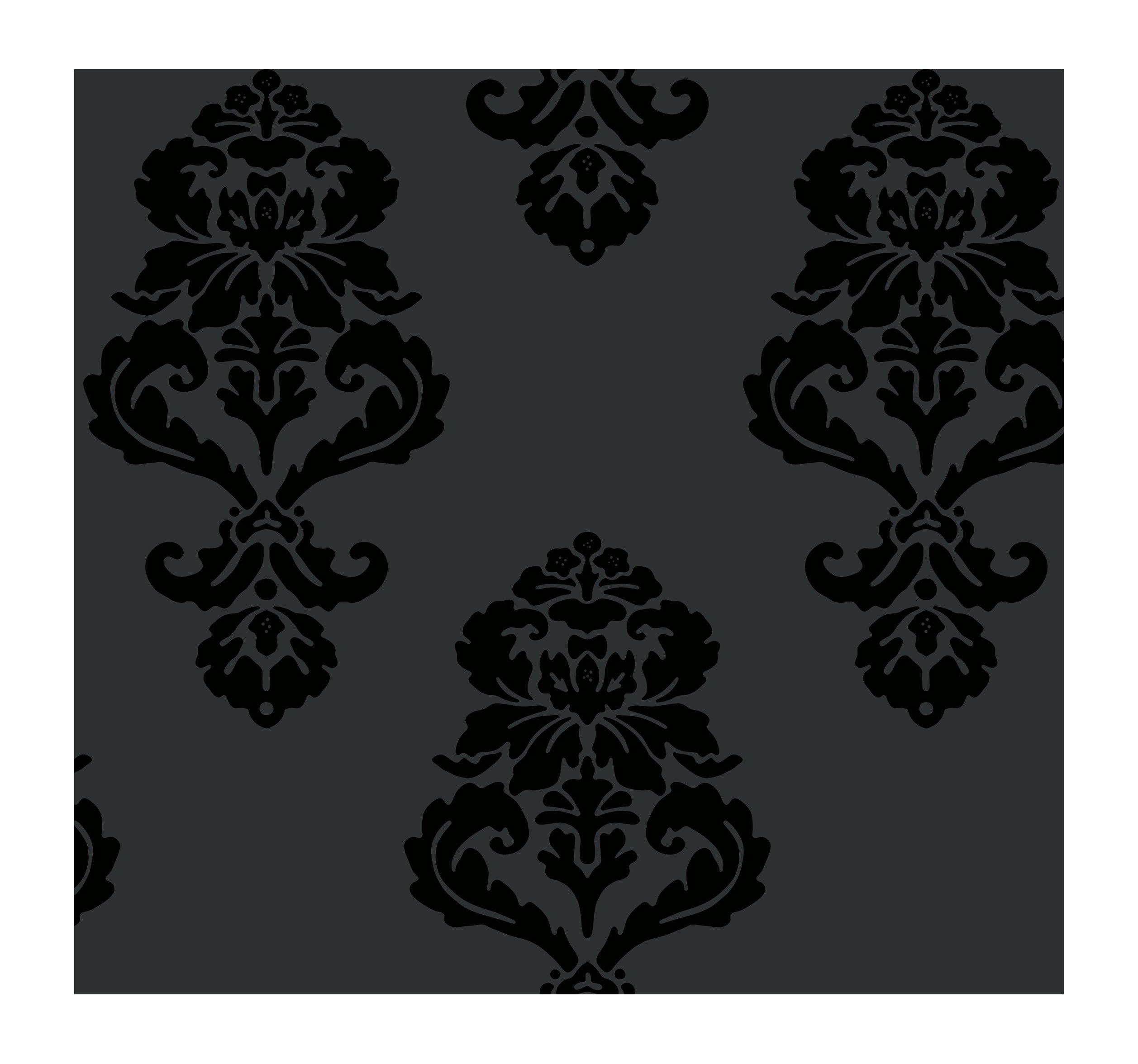 York Wallcoverings Tres Chic BL0397 Graphic Damask Wallpaper, Blacks - Ultra Removable