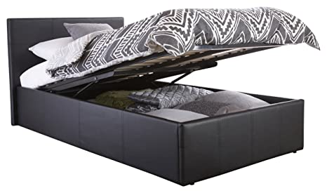 Surprising Right Deals Uk Single Faux Leather Ottoman Storage Gas Lift Bed Black Caraccident5 Cool Chair Designs And Ideas Caraccident5Info
