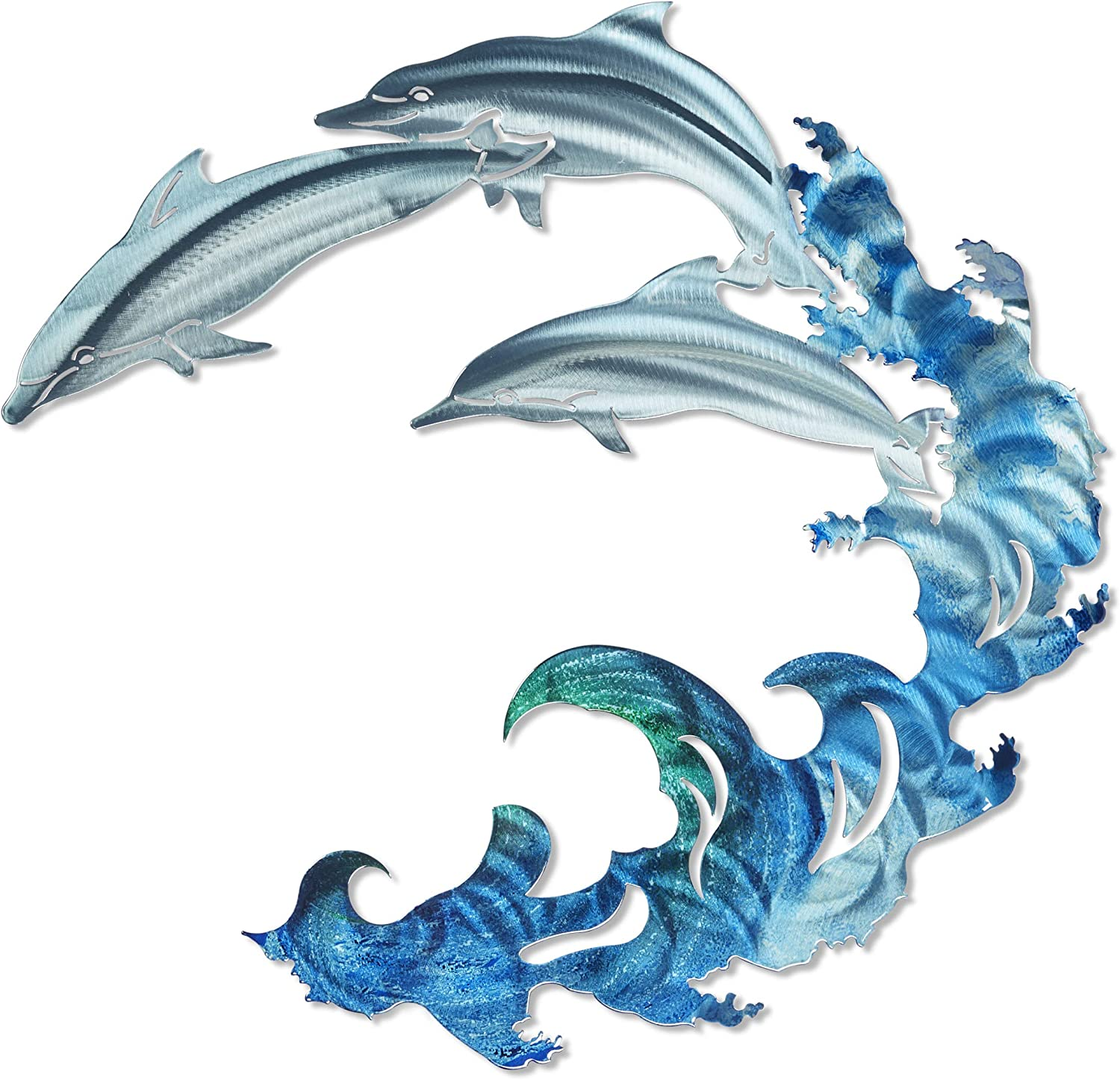 3D Metal Wall Art - Dolphin Theme Beach Wall Art - Handmade in The USA for Use Indoors or Outdoors