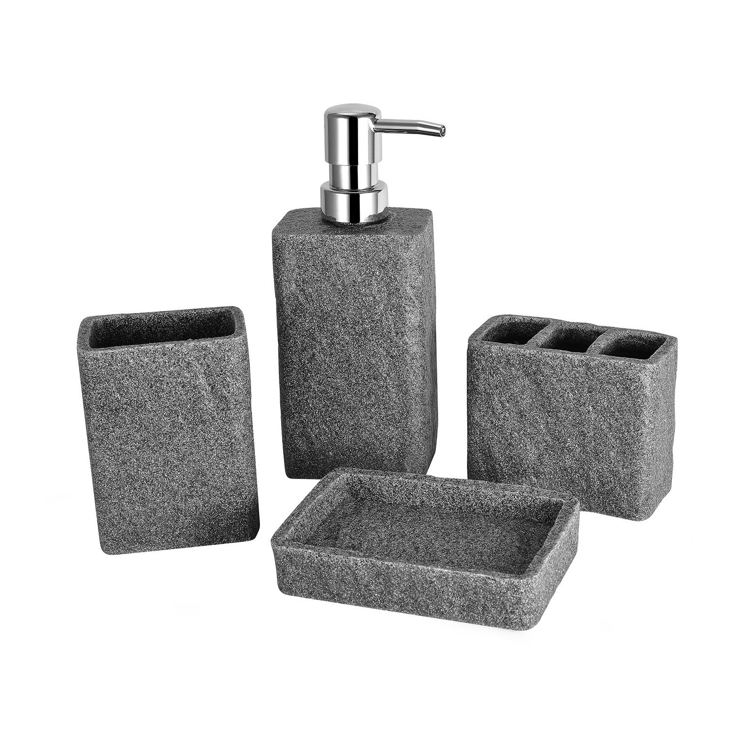 TTOYOUU 4pcs Grey Bath Accessory Set, Stone Textured Resin Soap Dish, Soap Dispenser,Toothbrush Holder & Tumbler Bath Ensemble Bathroom Accessory Collection Set