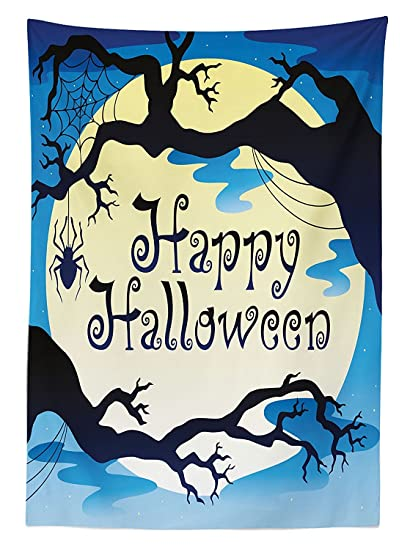 Halloween Decorations Tablecloth U0026quotHappy Halloweenu0026quot Quote Spooky  Night Moon And Branches Shadows Haunted Lights Rectangular Table