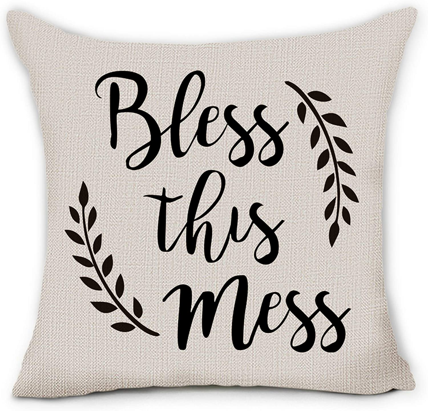 Hexagram Bless This Mess Throw Pillow Covers 18 x 18 Inch Inspirational Words Soft Linen Farmhouse Decorative Pillow Cover Cushion Case for Sofa Bench Couch Living Room Indoor Home Decor