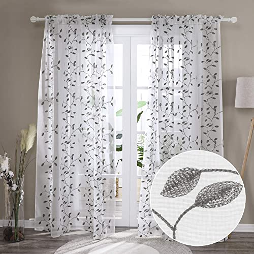 Deconovo White Sheer Curtains 96 Inches Extra Long Rod Pocket Window Sheers Drapes Set of 2 with Leaf Pattern Design Embroidered for Bedroom Kids Room Kitchen – 2 Panels, Each 52×96 in, Grey