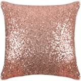 """PONY DANCE Durable Sequins Throw Pillow Cover Solid Sequins Cushion Cover Bling Square Sofa Pillowcase with Hidden Zipper for Xmas Home Decor,18"""" x 18"""",1 Pack,Champagne Blush"""