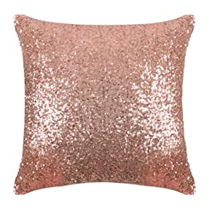 "PONY DANCE Sequins Pillow Cover - Durable Solid Sequin Fabric Throw Cushion Cover Bling Square Sofa Pillowcase with Hidden Zipper for Xmas Home Decor, 18"" x 18"", Champagne Blush, 1 PC"